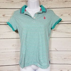 US POLO ASSN light blue striped polo shirt teens L